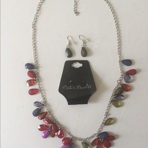 Necklace of Multi Colored drops with earrings